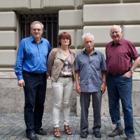 v.l.n.r. FLorian Ritter, MdL; Linda Schneider ver.di; Ernst Grube VVN-BdA; Dr. Klaus Hahnzog 3. Bgm a.D.